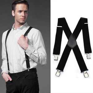 Mens-Black-Elastic-Suspenders-Leather-Braces-X-Back-Adjustable-Clip-on-T
