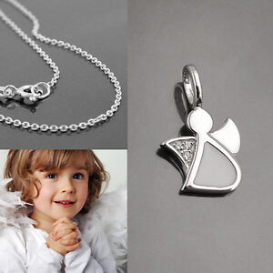 Mädchen farbige Fee Kinder Elfe moderner Anhänger mit Kette wählbar Silber 925