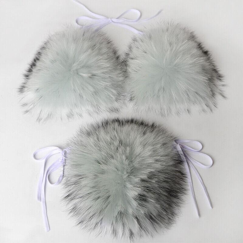 Sexy Fur Bikini Bra Sets Women Real Whole Fox Fur Underwear Detachable fox fur