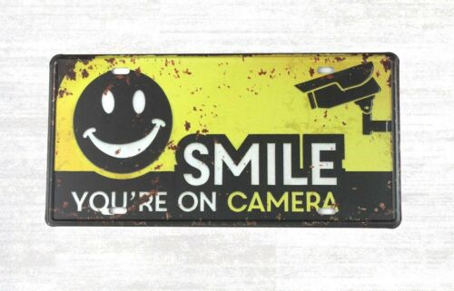 garage signs Smile You/'re on Camera tin sign car plate