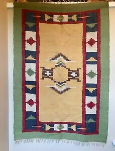 VINTAGE-NATIVE-AMERICAN-INDIAN-NAVAJO-RUG-WOVEN-WOOL-TEXTILE-ART-60-034-X42-034-MULTI
