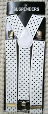 """WHITE WITH BLACK POLKA DOT ADJUSTABLE WIDE 1 1/4"""" 1 1/2"""" WIDE SUSPENDERS-NEW!"""