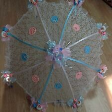 """36/"""" White Lace baby babies shower umbrella Blue  ducks /& pacifiers"""