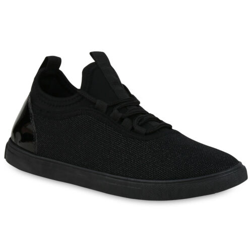 Damen Sneaker Low Glitzer Lack Stoffschuhe Metallic Turnschuhe 821226 Trendy Neu