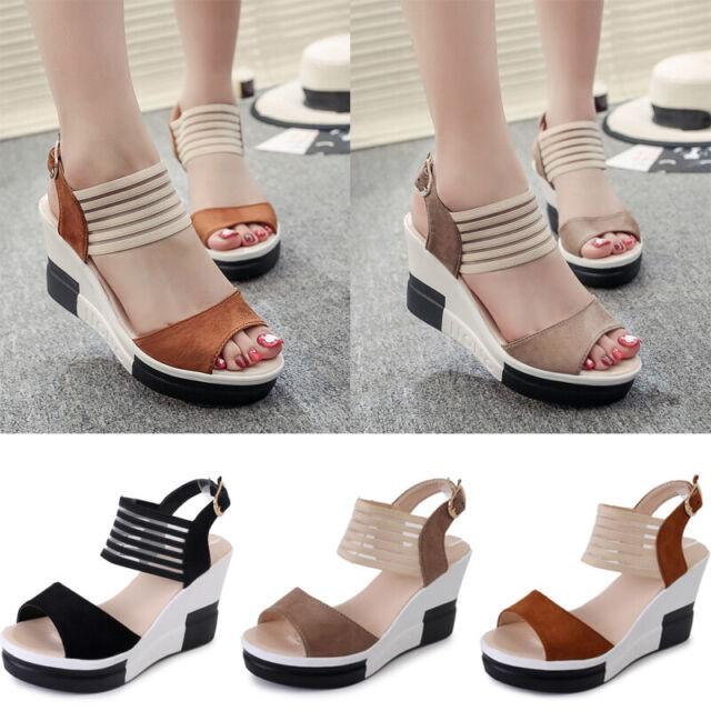 Women Peep Toe Wedge Sandals Ladies Platform Ankle Gauze Strap Slingback Shoes