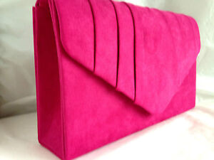 Image Is Loading New Fuschia Pink Faux Suede Evening Day Clutch