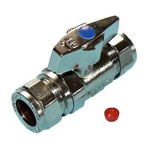 15mm CHROME FULL BORE Valvola di intercettazione, con maniglia Interruttore acceso / spento flusso considerevole in ottone  </span>