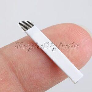 NEW Microblading Needle Permanent Eyebrow Makeup 12Pin Manual Tattoo Bevel Blade
