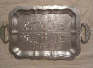 """Vintage Continental Silver Co Aluminum TrayWild Rose Brilliantone 1055: 20.5""""L"""