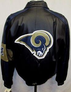 huge discount 6b3a5 81ea4 Details about Los Angeles Rams Men Medium Full-Zip Authentic Leather Jacket  NFL Black A14