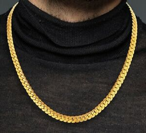 18k-Yellow-Gold-Mens-Womens-Bold-Cuban-Curb-Link-Chain-Stylish-Necklace-D517R