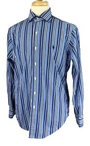Polo-Ralph-Lauren-Men-039-s-Long-Sleeve-Lightweight-Blue-Stripe-Shirt-Medium