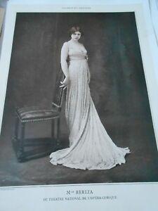 Portrait Actrice Théatre Mlle Beriza 1909