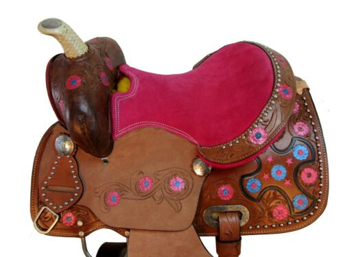 COMFY TRAIL SADDLE 12 13 WESTERN HORSE PLEASURE YOUTH CHILD KIDS LEATHER TACK