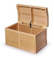Kids Natural Barrel Top Wood Toybox Toy Storage Chest Box Trunk
