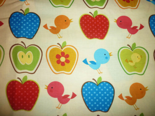 CLEARANCE FQ BRIGHT POLKA DOT APPLES BIRDS FLOWERS FABRIC
