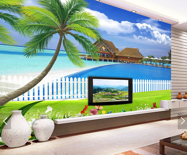 3D Arbor Weiß Coulds Sea Paper Wall Print Wall Decal Wall Deco Indoor Murals