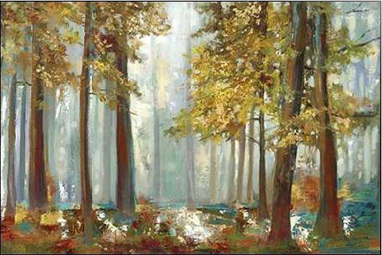 Allison Pearce  Upon the Leaves Keilrahmen-Bild Leinwand Bäume Wald Herbst Laub