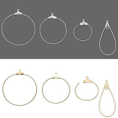 10 OR 100 Gold Plated Brass 30mm Round Beading Hoops Earrings with Hole