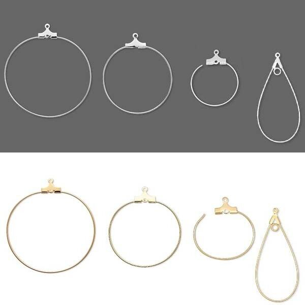 100 Beading Hoop Earring Finding Components w/ Loop Big-Small Plated Brass Metal
