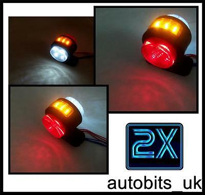 2 X LED FRONT REAR SIDE MARKER INDICATOR LIGHTS FOR TRUCK LORRY TRAILER 12V