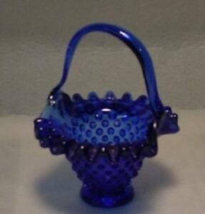 Cobalt-Blue-Glass-Hand-Made-Hobnail-Basket