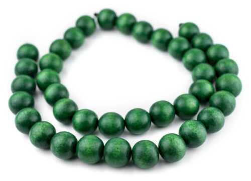 Green Round Natural Wood Beads 20mm Large Hole 16 Inch Strand