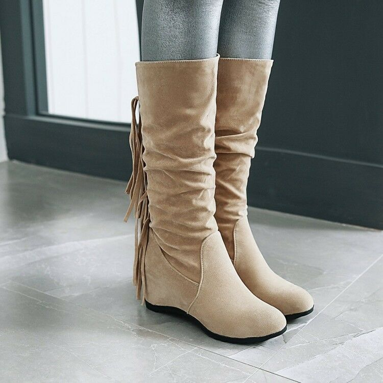Warm US Womens Fringed  Lace Decor Faux Suede Hidden Heel Party Mid-Calf Boots