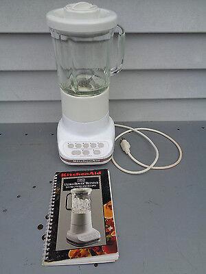 KITCHENAID KSB5WH WHITE GLASS BLENDER MODEL ULTRA POWER BASE 5 SPEED W/MANUAL