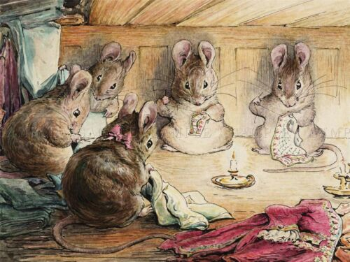HELEN BEATRIX POTTER THE MICE SEWING THE MAYORS COAT ART PRINT POSTER LF252