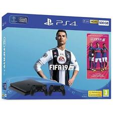 SONY 9743118 PS4 Console 500GB F ChassisSlim Black + Fifa 19 + 2 DS4 V2 *