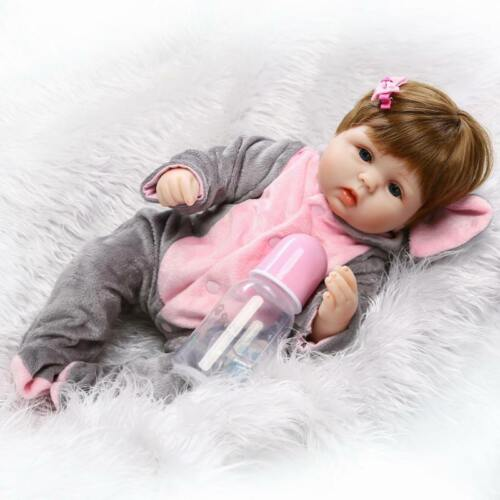 """18/"""" Silicone Vinyl Reborn Baby Girl Lifelike Doll Clothes Educational Toys Gift"""