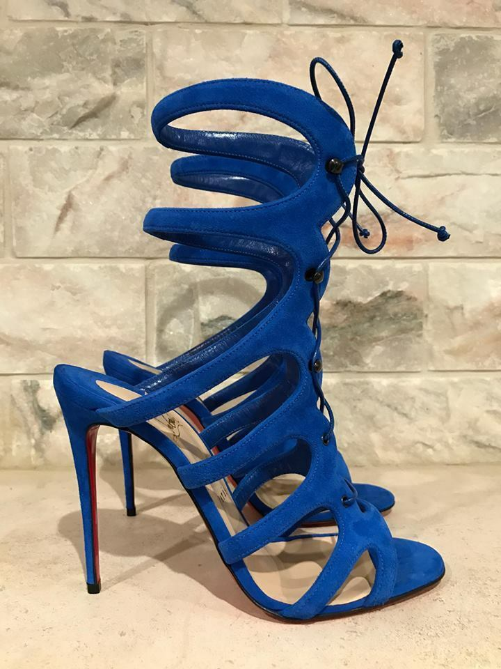 NIB Christian Louboutin Amazoulo 100 bluee Suede Kid Lace Up Heel Pump 35  1195