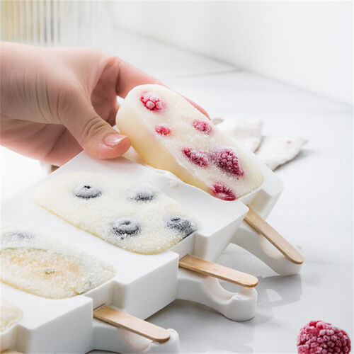 Large Silicone Frozen Ice Cream Mold Juice Popsicle Maker Lolly Mould 4 Cell