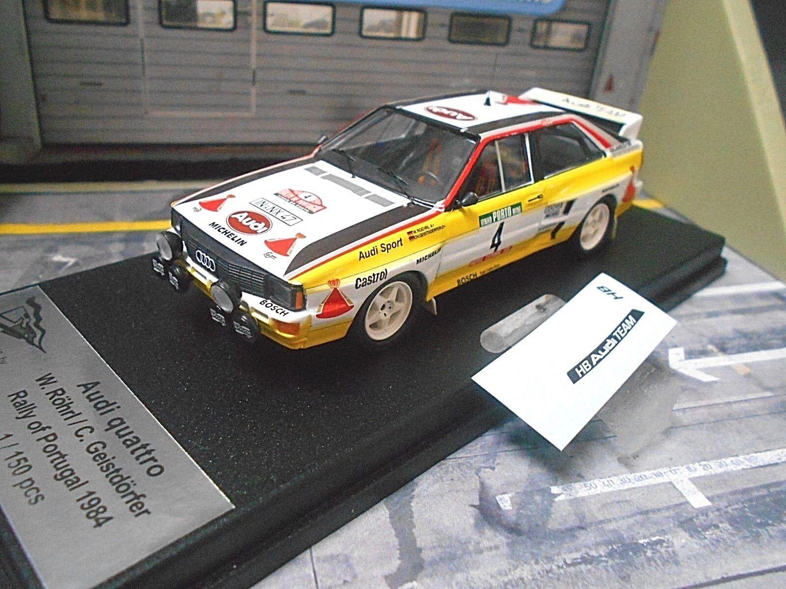 AUDI QUATTRO RALLYE coupe du monde Portugal TAP 1984  4 Röhrl HB Limited 1 150 Trofeu 1 43