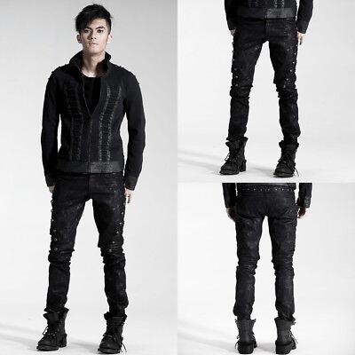 Punk Rave Mens DieselPunk Jeans Pants Black Goth Steampunk Punk Biker Trousers