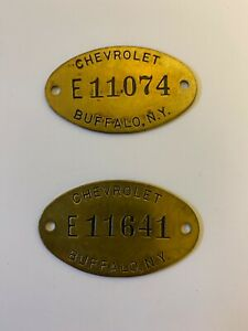 Vintage-Chevrolet-Tool-or-Factory-Unused-Brass-Tags-Qty-2-Lot-1