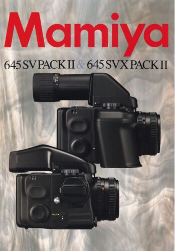 GENUINE 3 PAGES MAMIYA PRODUCT INFORMATION BROCHURE FOR 645 SV /& SVX PACK II