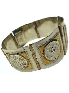 VINTAGE-MEXICO-TAXCO-STERLING-SILVER-Aztec-MAYAN-Panel-BRACELET