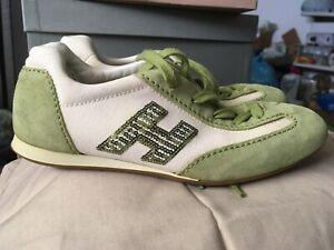 Dettagli su Sneakers Scarpe Hogan Donna Ragazza N.35 Bianco Verde