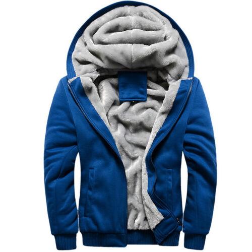 Men Thick Warm Fleece Fur Lined Hoodie Zip Up Winter Coat Jacket Sweatshirt Tops