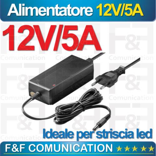 ALIMENTATORE TRASFORMATORE 60W AC220-DC 12V 5A STRISCIA LED FARO FARETTI NUOVO I