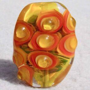 KUMQUAT Handmade Art Glass Focal Bead Flaming Fools Lampwork Art Glass SRA