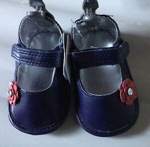 Baby Girls Navy Blue Pram Shoes with