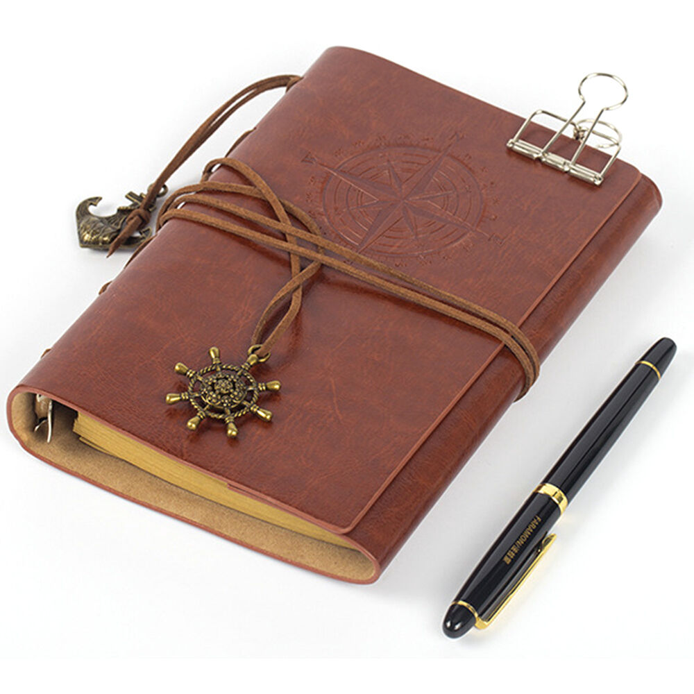 Vintage Classic Retro Leather Journal Travel Notepad Notebook Blank Diary Brown 8