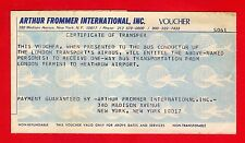 Airport Bus Voucher ~ London to Heathrow - Arthur Frommer New York: Sample 1980s
