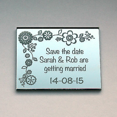 Personalised Save the date wedding fridge magnets in mirrored acrylic.
