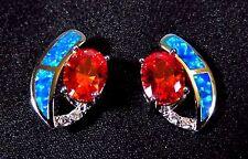 """Sterling 925 Silver SF Post Earrings Blue Lab Fire Opal & 8*6mm Garnet 1/2"""" Drop"""