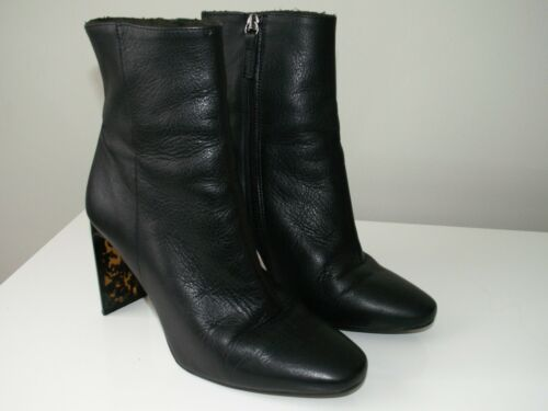 Black 8 Topshop 5 Leather 6 Uk Ankle Sock 'hibiscus' Us Eu Boots 39 655qSwC