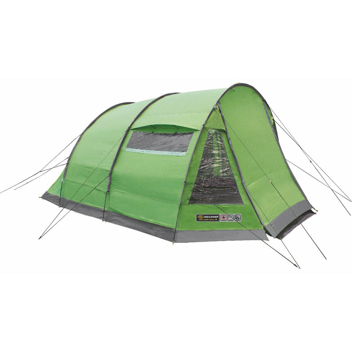 Highlander Sycamore 4 Personen Zelt Feste Camping Wochenende Wiese/Frühlingsgrün